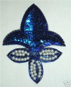 K1445 Blue Fleur De Leis Sequin Beaded Applique