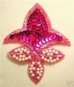 K1445 Fuchsia Fleur De Leis Sequin Beaded Applique