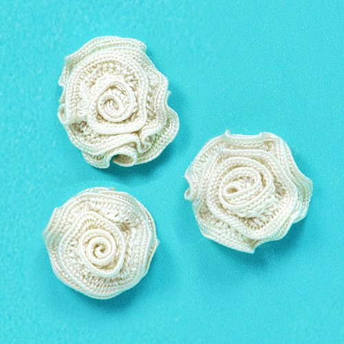 E5500 Flower Appliques Ivory Set of ( 3 ) Ruffled Floral Rose  3/4\