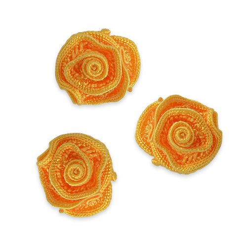 E5500  Flower Appliques Sunflower Yellow Set of ( 3 ) Ruffled Floral Rose  3/4\