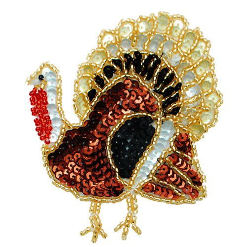 E058S Large Thanksgiving Turkey Sequin Beaded Applique 3.75""