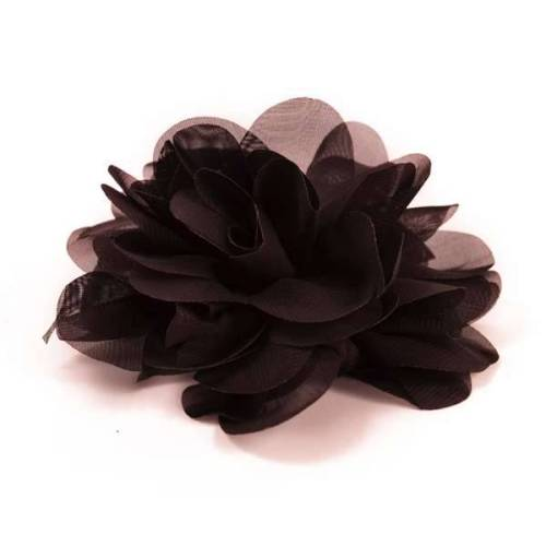 E6042 Black Floral Brooch Clip Applique 5