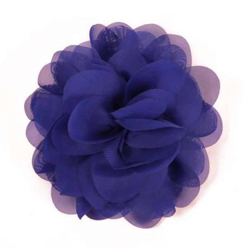 E6042 Royal Blue Floral Brooch Clip Applique 5