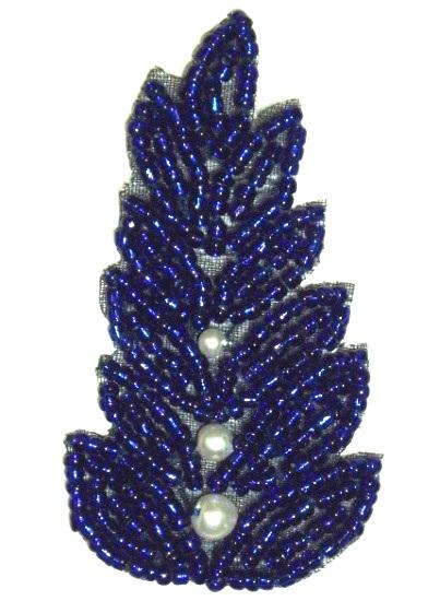 K1397 Royal Blue Pearl Leaf Beaded Applique 2.5
