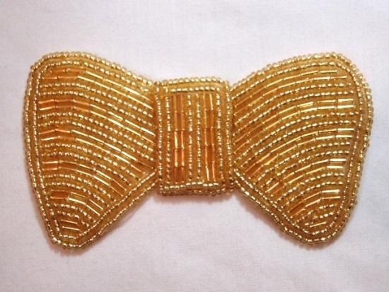 K8137  Gold Bow Beaded Applique 3.75