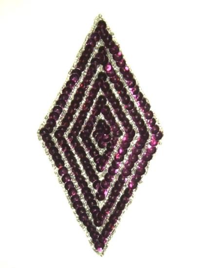 RMK8385  REDUCED Purple Wine Diamond Sequin Beaded Applique 5.5