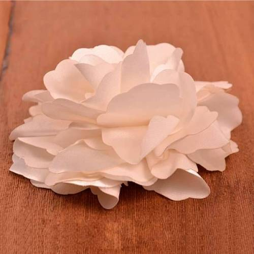 E6049 Ivory Silky Floral Brooch Hair Clip Applique 3.75\