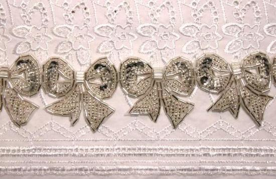 T8623  Silver  Bow Sequin Beaded Applique or Trim