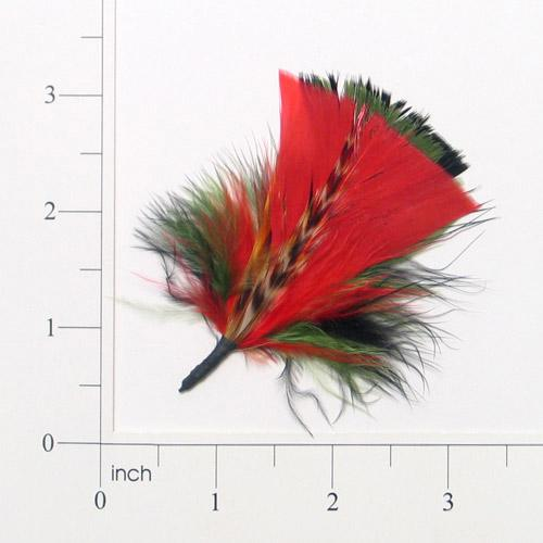 E4116  Red  Brown & Green  Feather 3.25