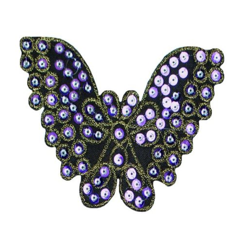 E1311  Butterfly Purple Sequin Applique Embroidered 4.25