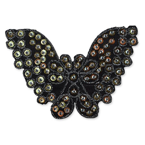 E1311  Butterfly Brown Sequin Applique Embroidered 4.25