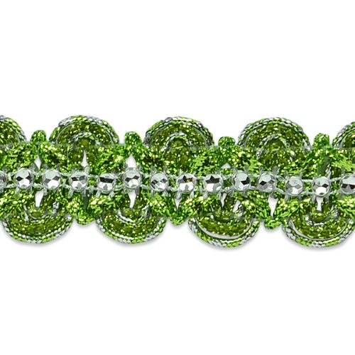 E6964 Lime Green & Silver Eva Faux Rhinestone Metallic Braid Trim 1 1/8""