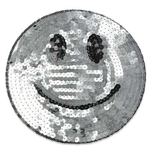 E1313 Smiley Face Silver Sequin Applique Embroidered 7
