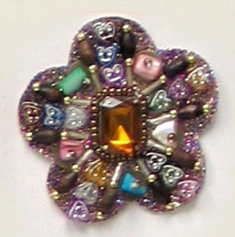 E5963   Designer Sparkly Jewel Heart  Beaded Applique 2.5