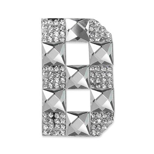 E1327B  Rhinestone Letter Applique B Iron On Patch Crystal 2.5