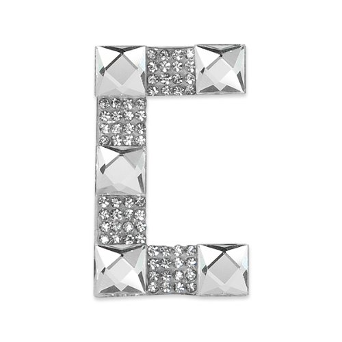 E1327C  Rhinestone Letter Applique C Iron On Patch Crystal 2.5