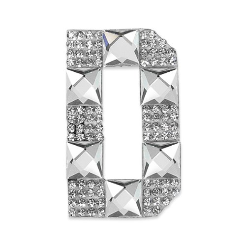 E1327D  Rhinestone Letter Applique D Iron On Patch Crystal 2.5