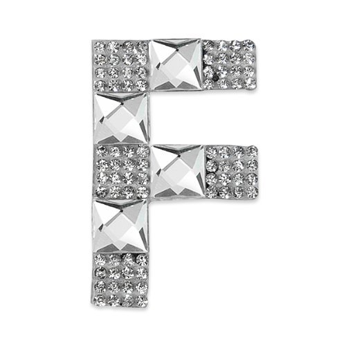 E1327F  Rhinestone Letter Applique F Iron On Patch Crystal 2.5