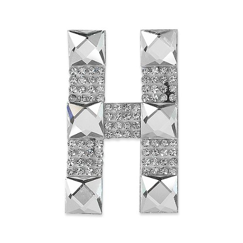 E1327H  Rhinestone Letter Applique H Iron On Patch Crystal 2.5
