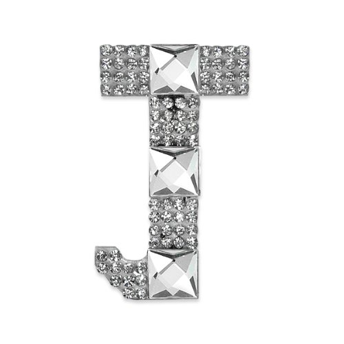 E1327J Rhinestone Letter Applique J Iron On Patch Crystal 2.5