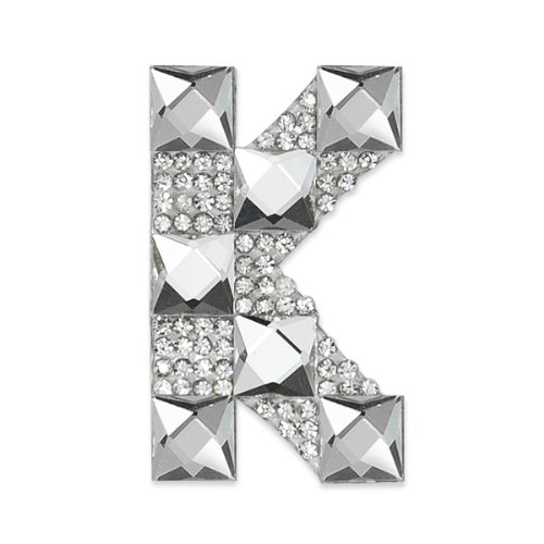 E1327K  Rhinestone Letter Applique K Iron On Patch Crystal 2.5\