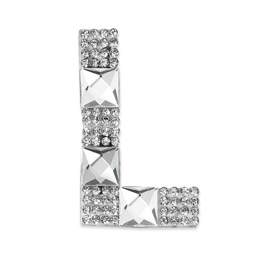 E1327L  Rhinestone Letter Applique L Iron On Patch Crystal 2.5\