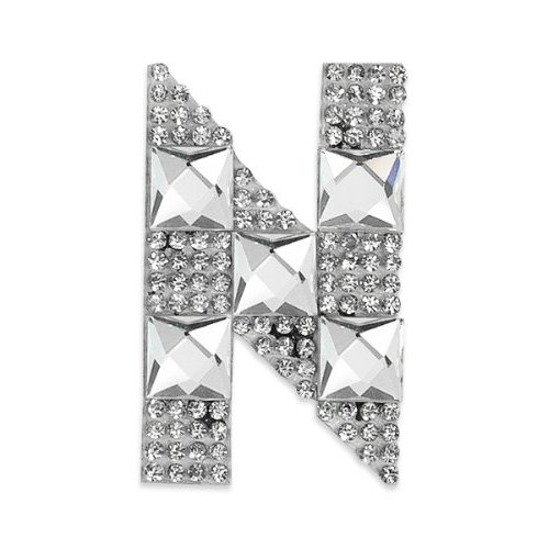 E1327N  Rhinestone Letter Applique N Iron On Patch Crystal 2.5