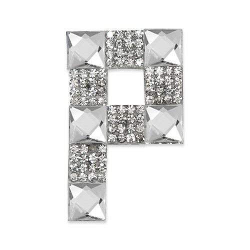 E1327P Rhinestone Letter Applique P Iron On Patch Crystal 2.5\