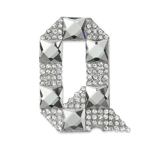 E1327Q  Rhinestone Letter Applique Q Iron On Patch Crystal 2.5