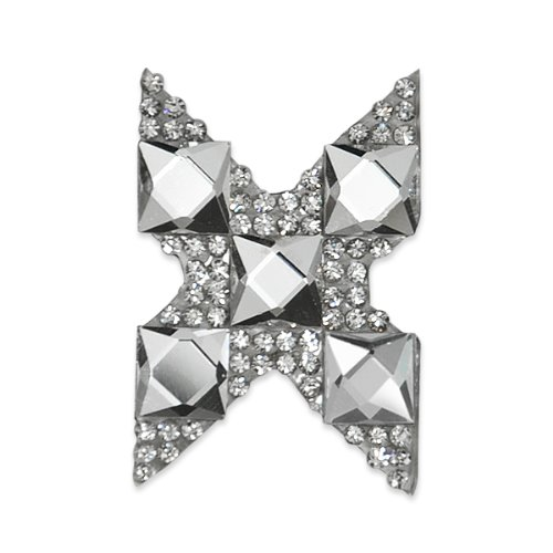 E1327X  Rhinestone Letter Applique X Iron On Patch Crystal 2.5\