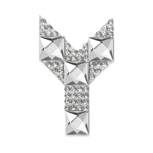 E1327Y Rhinestone Letter Applique Y Iron On Patch Crystal 2.5\