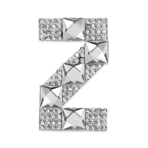 E1327Z  Rhinestone Letter Applique Z Iron On Patch Crystal 2.5\