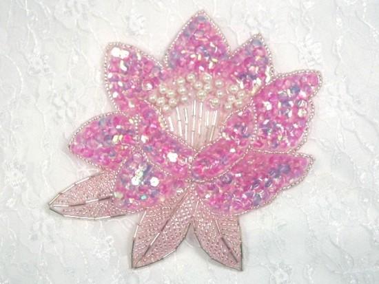 K8108  Pink Crystal Sequin Beaded Applique 5.25