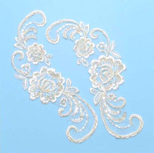 E252 Ivory Venise Lace Mirror Pair Sequin Appliques 9\