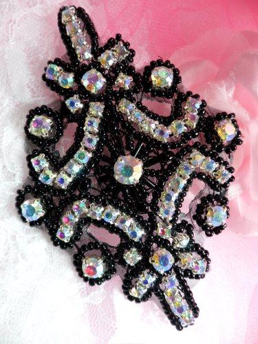XR298  Aurora Borealis Rhinestone Crystal AB Black Beaded  Applique 4\