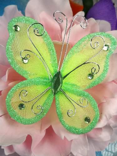 MR021 Choose Size Apple Green Organza Jewel Butterfly Embellishment