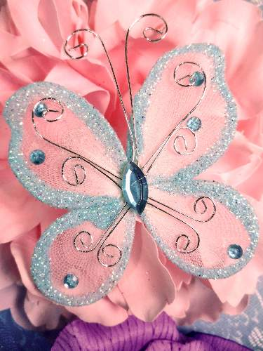 MR021 Choose Size Lt. Blue Organza Jewel Butterfly Embellishment