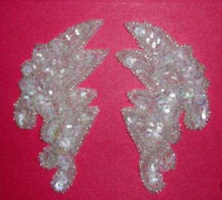 K8256   Crystal AB Mini Claw Pair Sequin Beaded Appliques 3.5