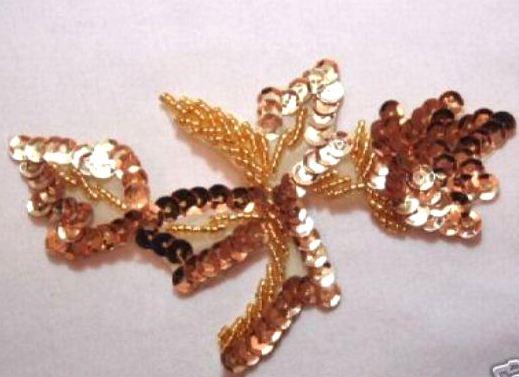 K8277   Gold Leaf Designer Sequin Beaded Applique 4.75