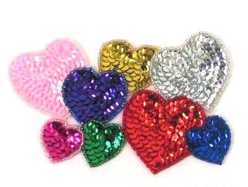 E161L Heart Cluster Sequin Beaded Applique 5.5