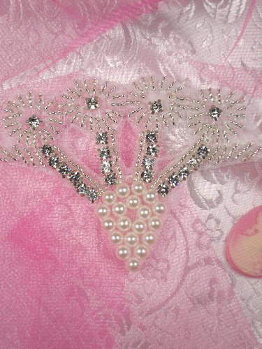 MS57 Silver Pearl Crystal Rhinestone Applique 3.5\