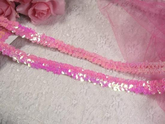 E4412   Pink AB Sequin Stretch 2 Row Sewing Trim 1\