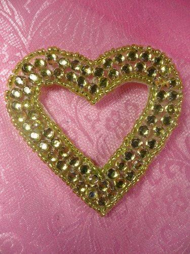 SA16 REDUCED Lime Green Jewel Heart Applique Beaded 2.5\