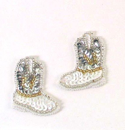 E473 Cowgirl Boot Appliques Mirror Pair Sequin Beaded 1 5/8