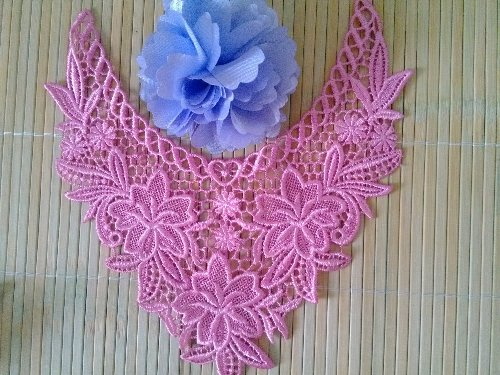 GB50 Bright Pink Floral Collar Yoke Bodice Embroidered Flower Applique 7.5\