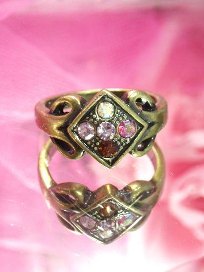 642  MultiColor Rhinestone Antique Gold Vintage Ring sz. 8.75