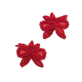 E1128 Red Bow Beaded  with Leaf Mirror Pair Appliques 1.75""