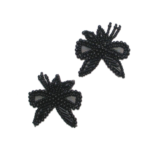 E1128 Black Bow Beaded  with Leaf Mirror Pair Appliques 1.75