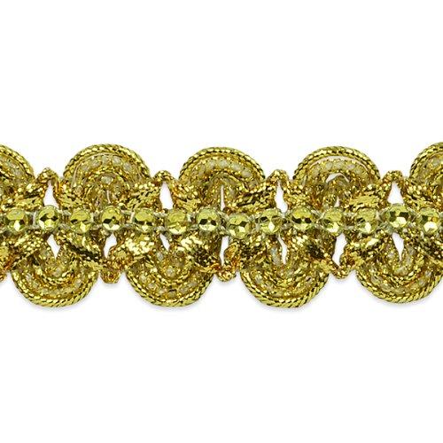 E6964 Gold Eva Faux Rhinestone Metallic Braid Trim 1 1/8\