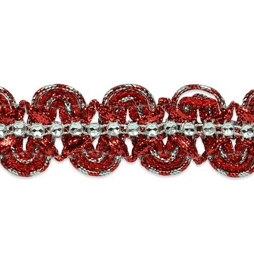 E6964 Red Silver Eva Faux Rhinestone Metallic Braid Trim 1 1/8\